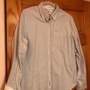 Woman's blue striped blouse